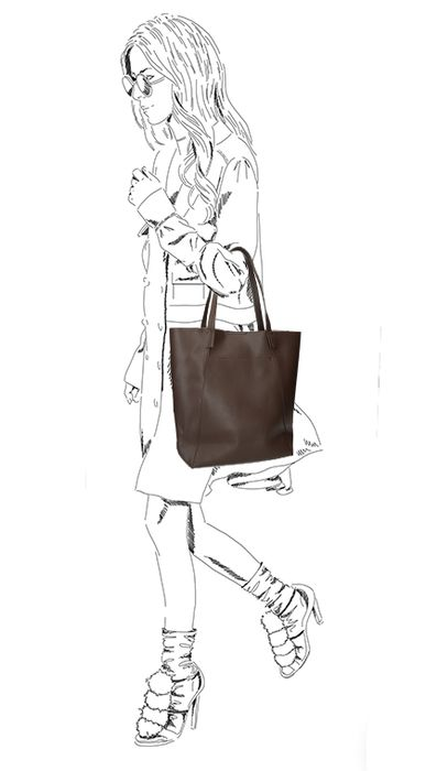 Donkerbruine shopper