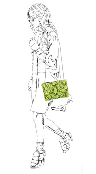 Neon geel schoudertasje met snakeskin