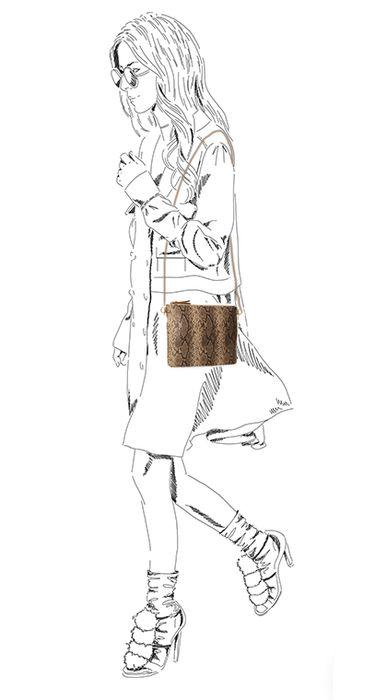 Bruine snakeskin schoudertas