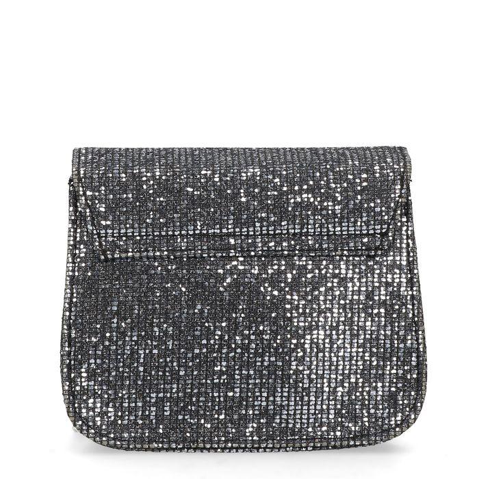 Schoudertasje met zilveren glitters