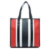 Handtas rood/wit/zwart gestreept