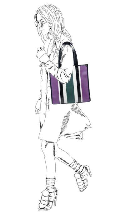 Paarse shopper met strepen
