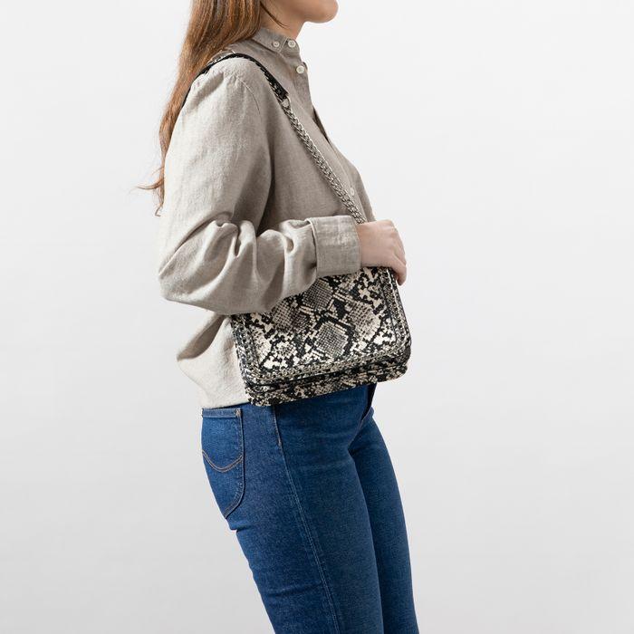 Beige snakeskin schoudertas