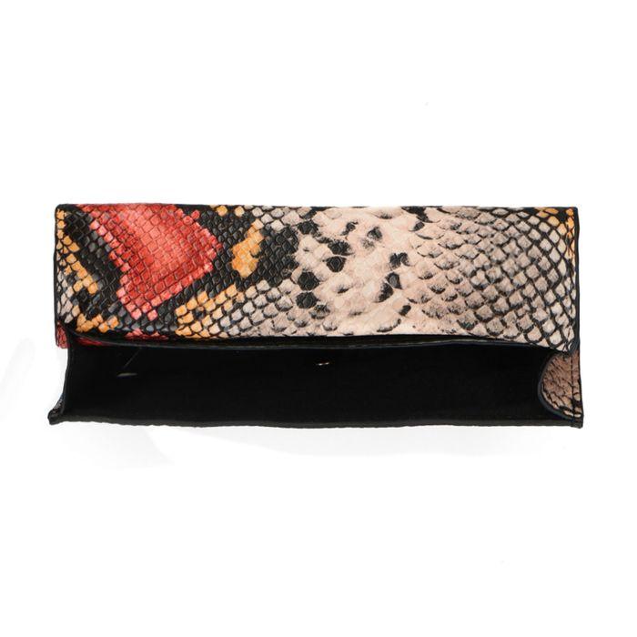 Multicolor schoudertasje met snakeskin