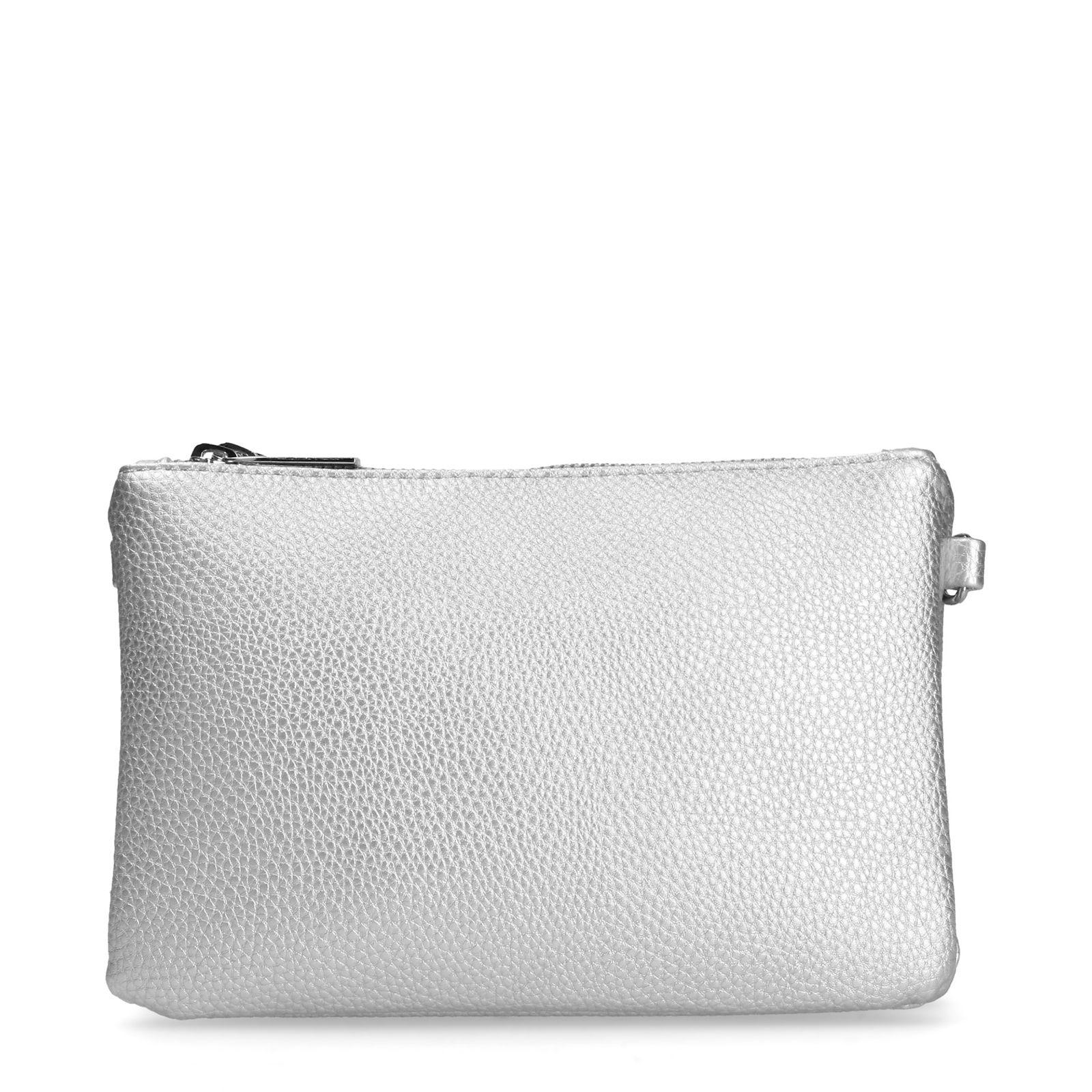 Metallic zilveren schoudertas met 3 vakken