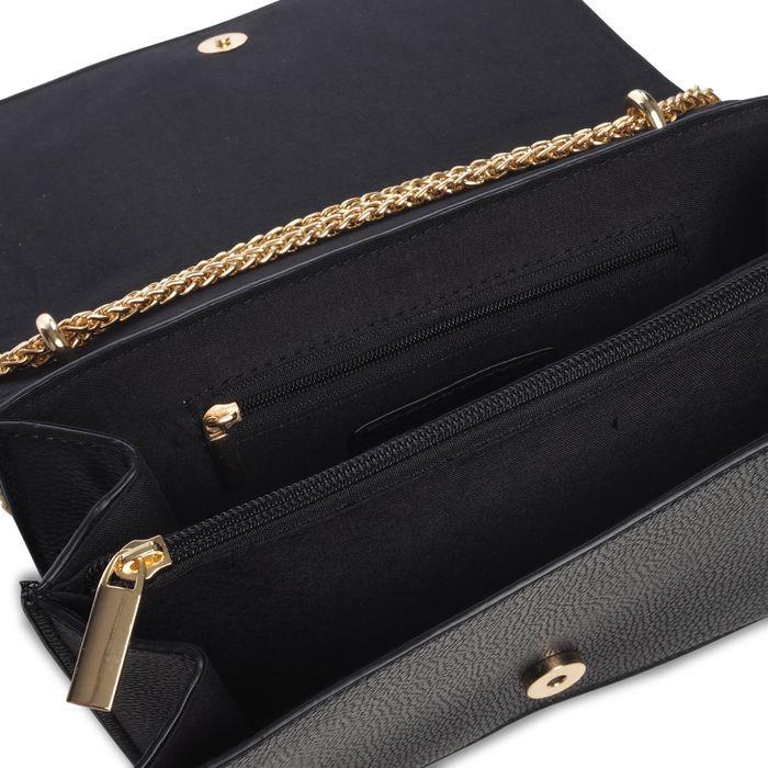 Zwarte schoudertas met gouden ketting