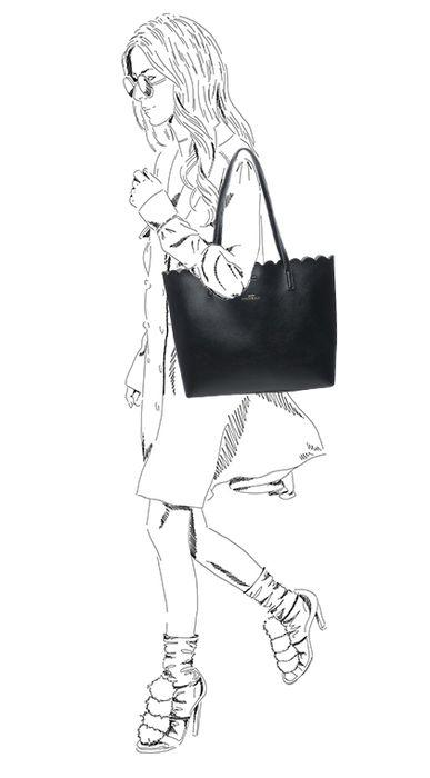 Zwarte shopper met binnentas