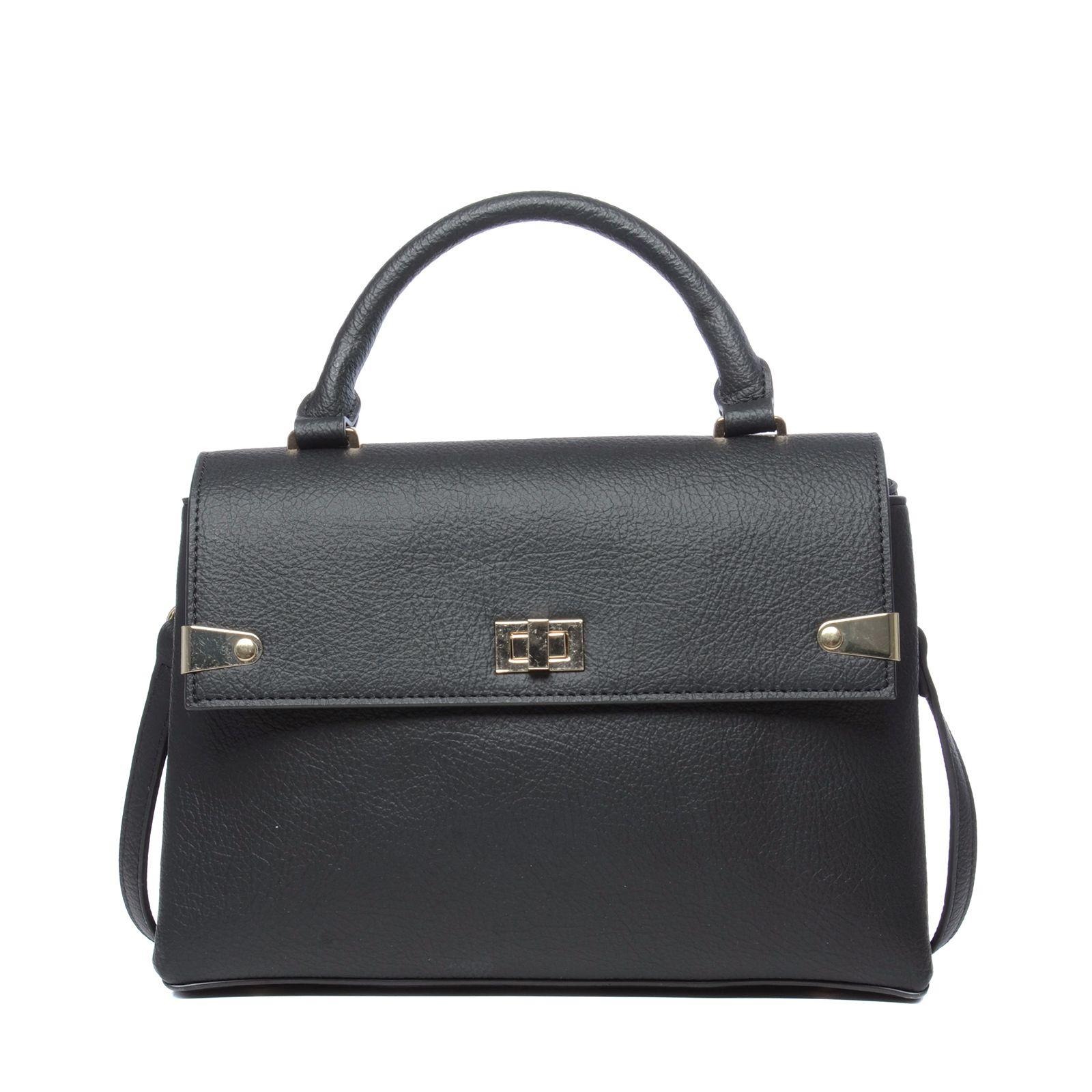 Zwarte schoudertas met gouden details