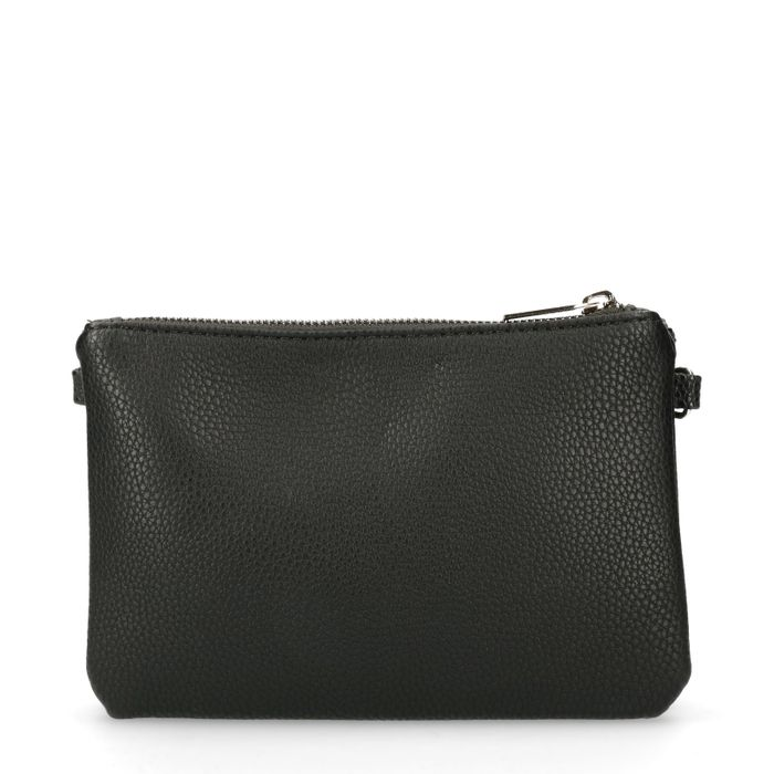 Zwarte schoudertas met 3 vakken