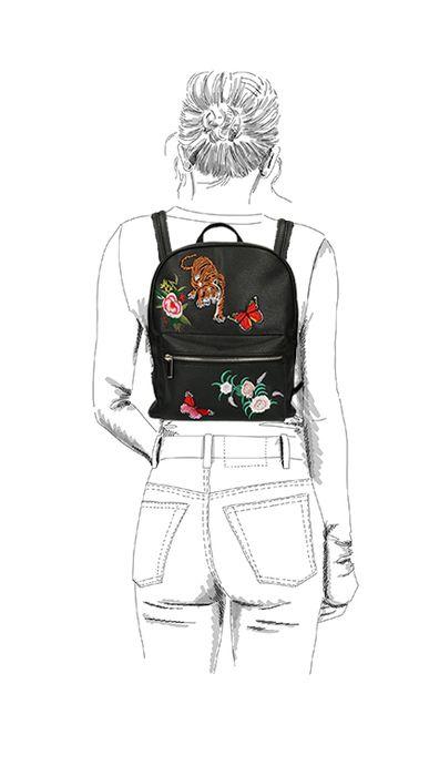 Zwarte rugzak met embroidery
