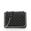 Zwarte schoudertas met chain detail
