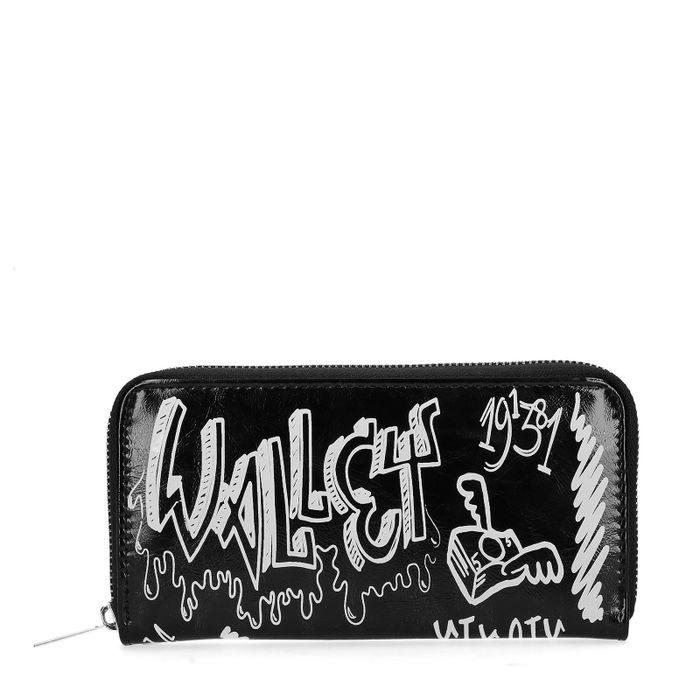 Zwarte portemonnee met tekst