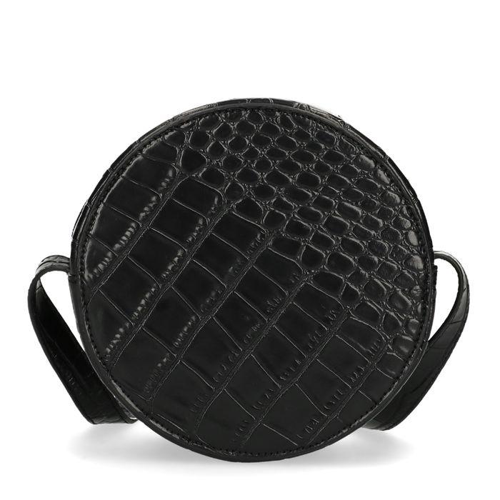Zwart rond tasje met snakeskin print