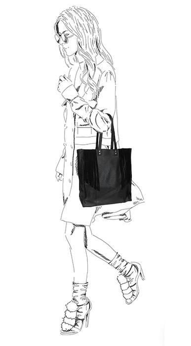Zwarte shopper met fringes