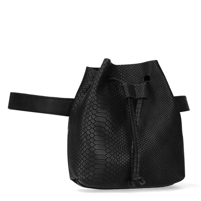 Zwart heuptasje met snakeskin