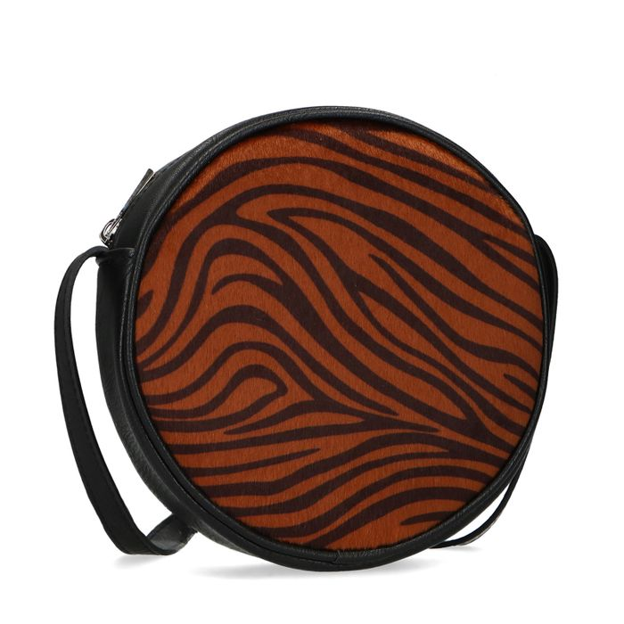 Ronde zwarte schoudertas met tijgerprint