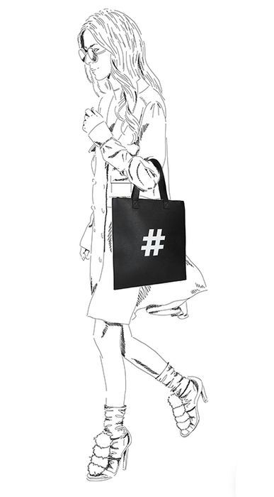 Zwarte shopper met hashtag