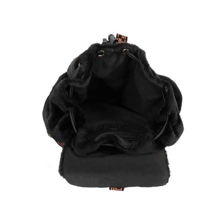 Zwarte rugzak van immitatiebont