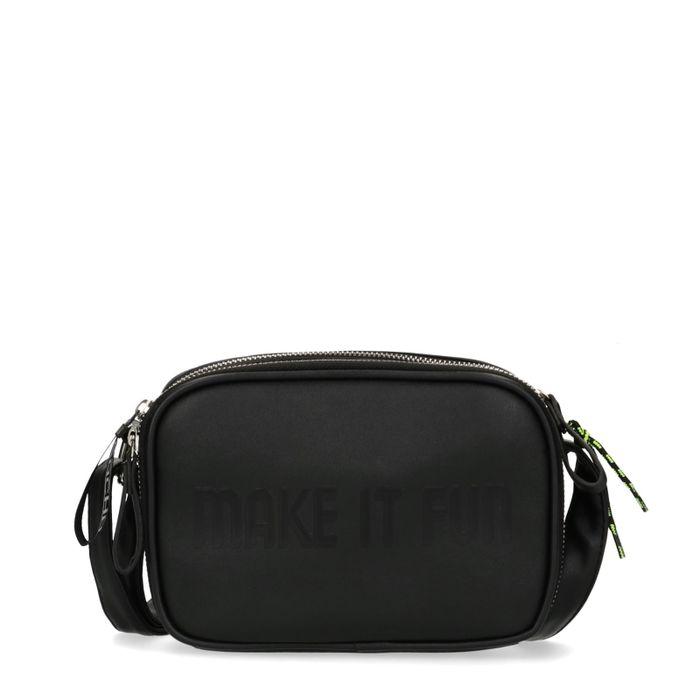 Zwarte schoudertas met neon details