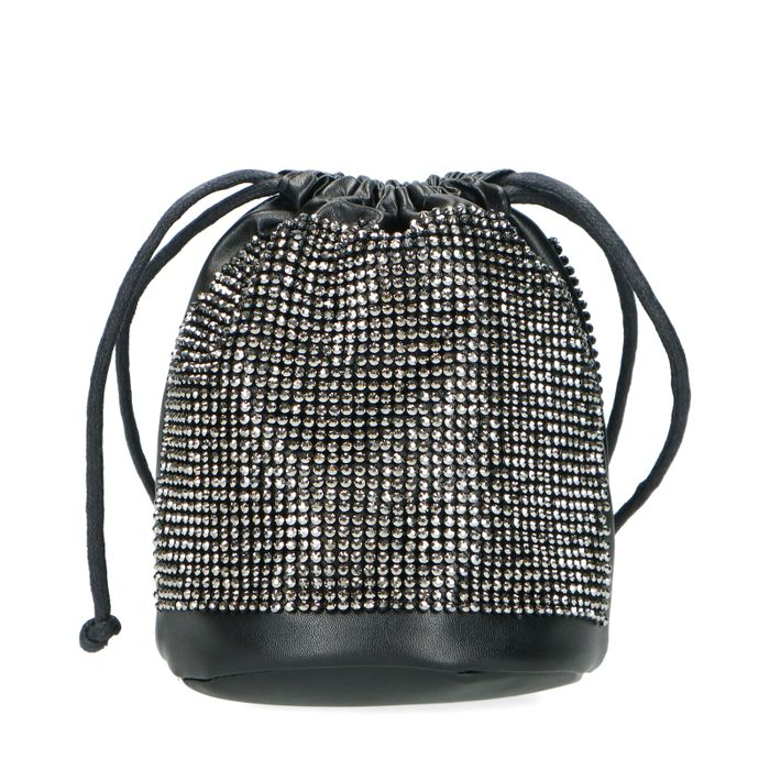Zwarte schoudertas met glitters