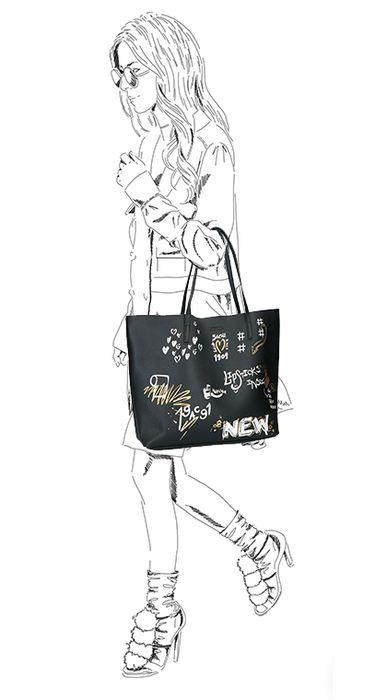 Zwarte shopper met graffiti
