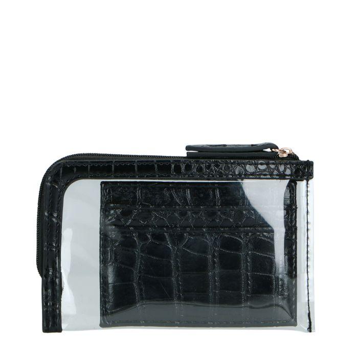 Zwarte cardholder met doorzichtige mini bag