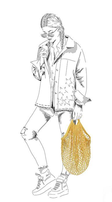 Gele string bag
