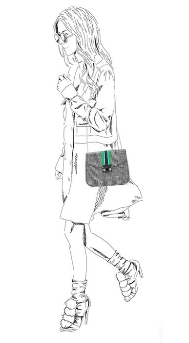 Grijs geruite schoudertasje met detail