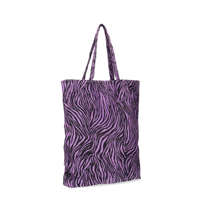 Paarse katoenen shopper met zebra print