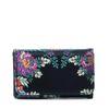 Kleine zwarte portemonnee met bloemen