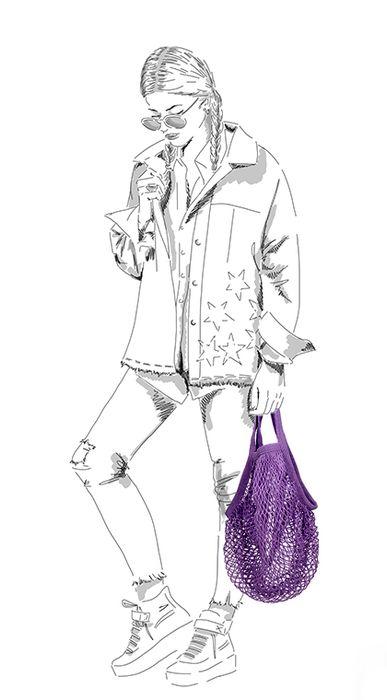 Paarse string bag
