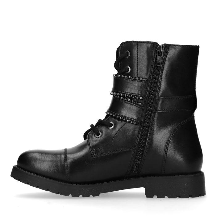 Zwarte biker boots met gespen en studs
