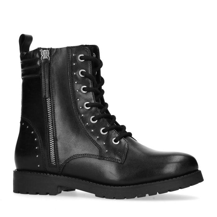 Zwarte biker boots met kleine studs