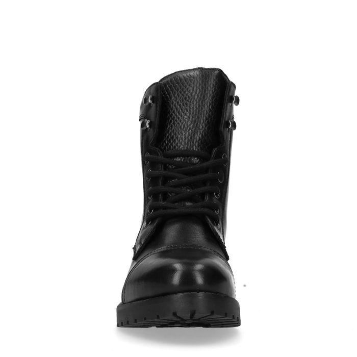 Zwarte biker boots met snakeskin details