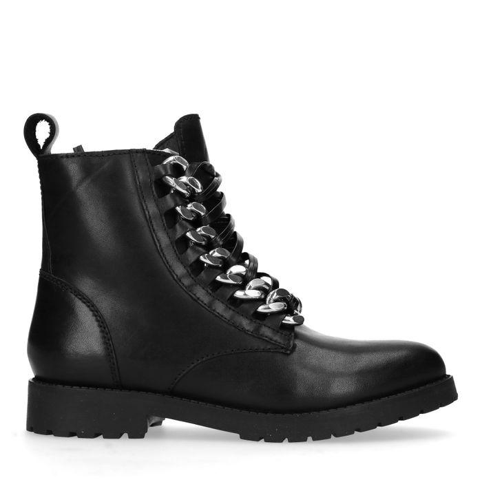 Zwarte biker boots met leren veters