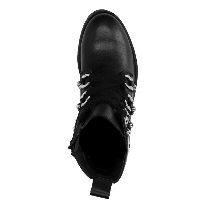Zwarte biker boots met brede veters