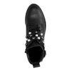 Zwarte biker boots met parels en gespen