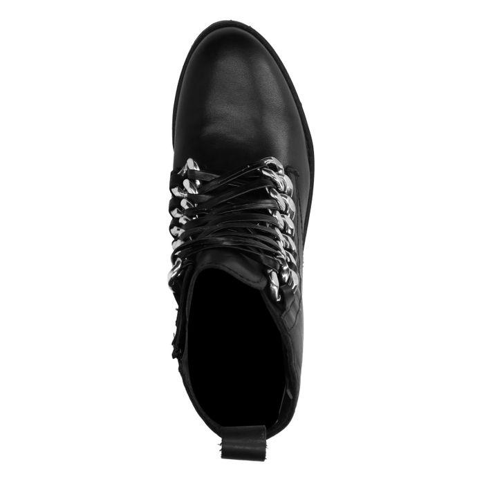 Bottines motardes avec lacets en cuir - noir