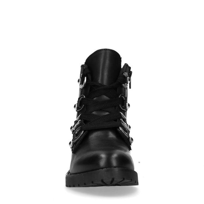 Bottines motardes avec lacets larges - noir