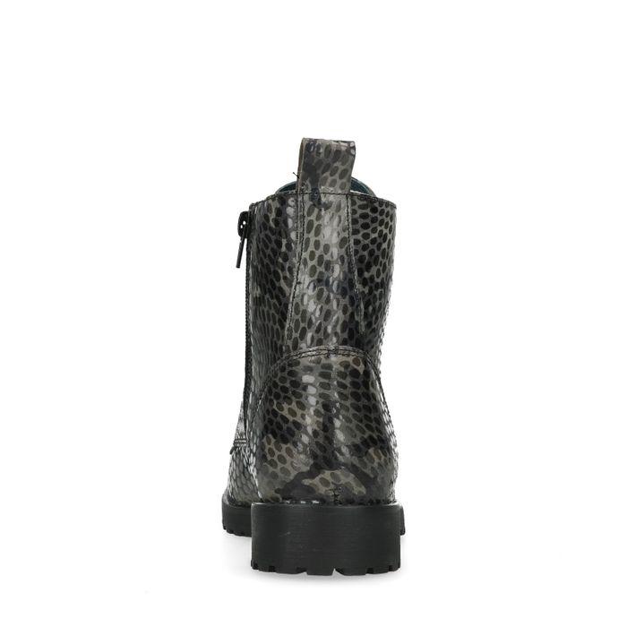 Bottines à lacets avec imprimé militaire - noir