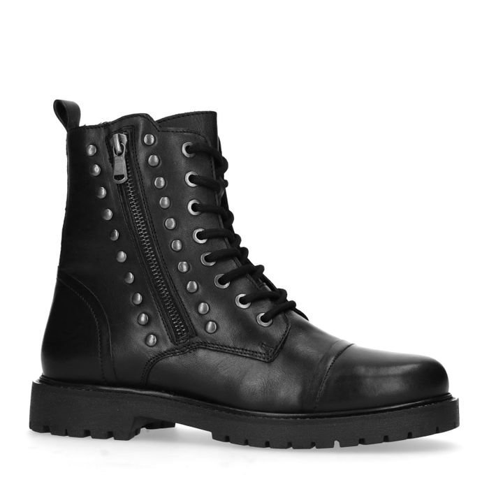 Bottines motardes avec clous - noir