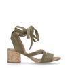 Dunkelgrüne Veloursleder-Sandaletten