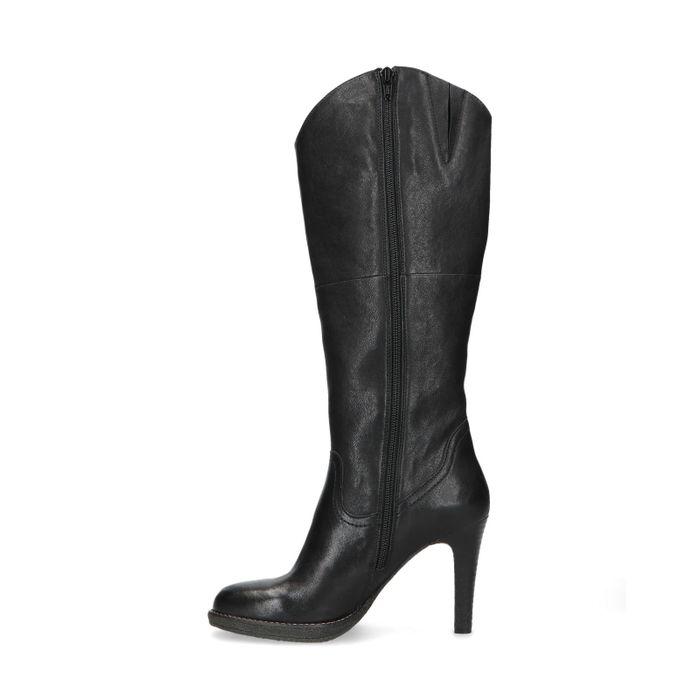 Zwarte leren hoge laarzen