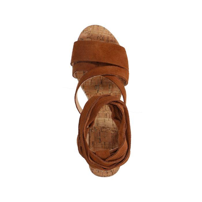 Cognac suède sandalen met hak