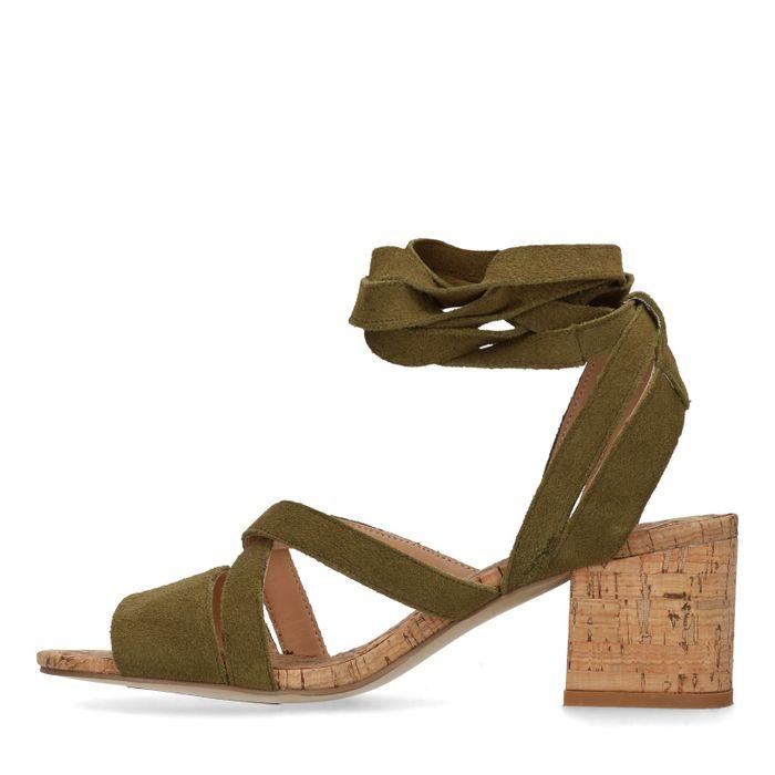 Groene sandalen met blokhak