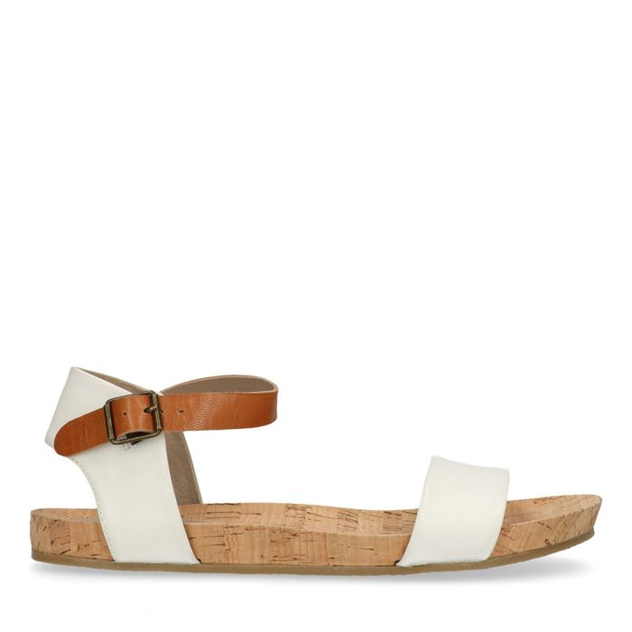 Sandales avec bride cognac - blanc