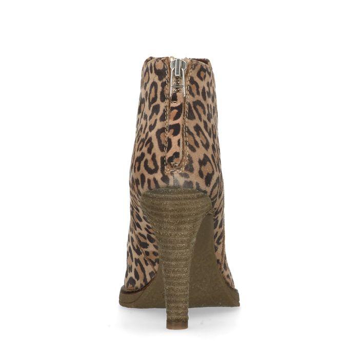 Bottines cuir à talon avec imprimé léopard