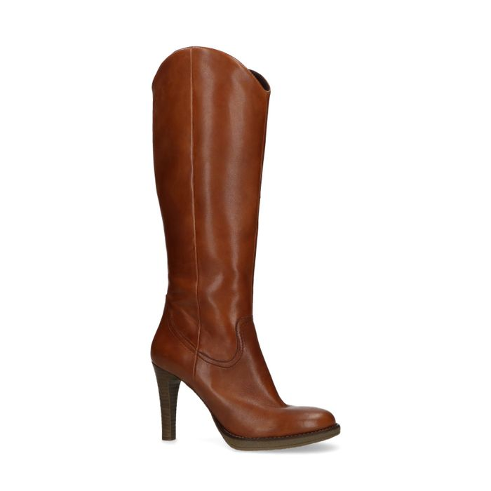 Bottes hautes en cuir - marron