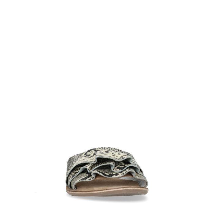 Claquettes en cuir avec imprimé serpent