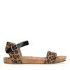 Sandales en cuir avec imprimé léopard - noir